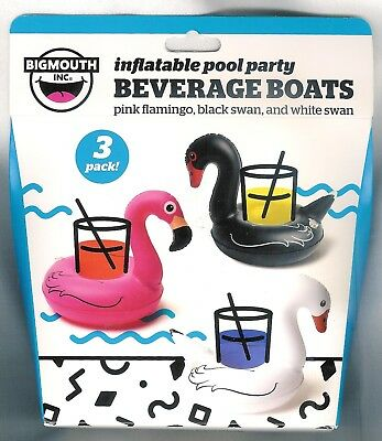 INFLATABLE POOL PARTY BEVERAGE BOATS ~3 CT~ PINK FLAMINGO ~BLACK + WHITE SWAN