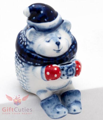 Porcelain Gzhel Figurine of a Hedgehog with a cup of coffee handmade