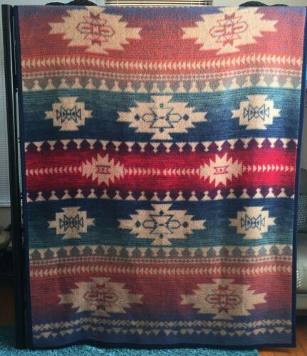 Biederlack of America Native Blanket 58 x 78 Throw Red Blue Green Camp Cabin USA