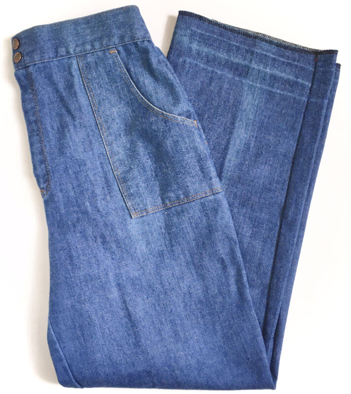 """Vintage 70s JTF Sears High Rise Straight Wide Trouser Leg Mom Jeans 28"""" Waist"""