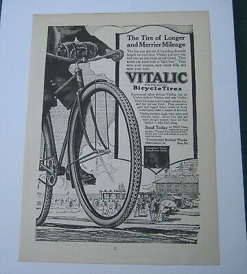 1918 Vintage BICYCLE TIRES & BRAKE Double Sided ADVERTISEMENT AD United States