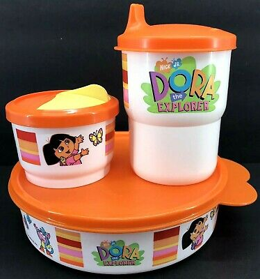 Dora The Explorer Cups (Tupperware Dora The Explorer 3 Piece Lunch Set Snack Cup Bowl Tumbler New )