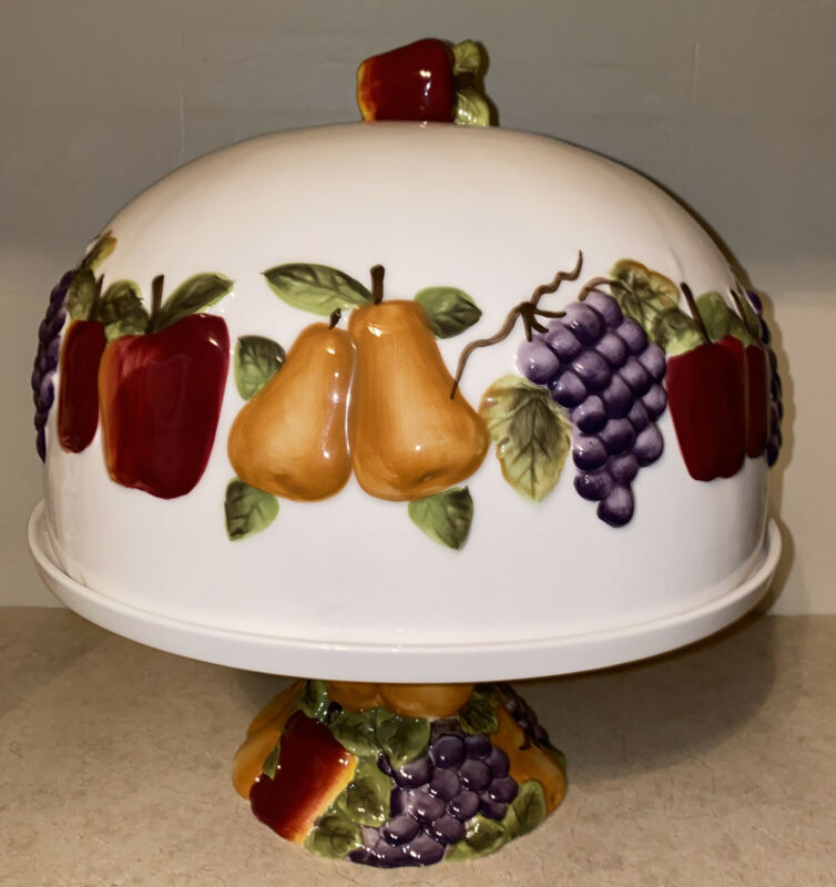 Home Interiors Better Home Gardens Sonoma Villa Fruit Pedestal Cake Plate & Lid