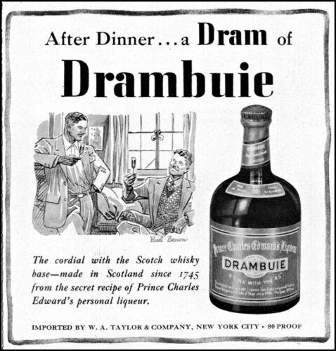 1948 Drambuie golden Scotch whisky liqueur men drink vintage art print ad ads64