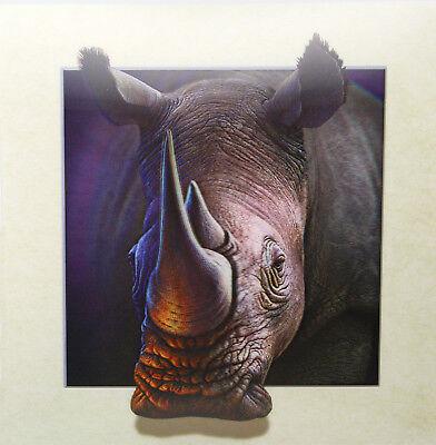 3D Lenticular Poster - Rhinoceros Close Up-16x16 Print