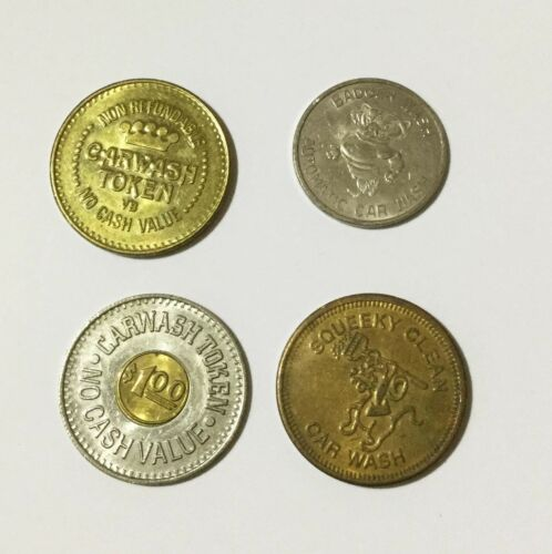 Lot of 4 Car Wash Tokens - Squeeky Clean - Badger Wash