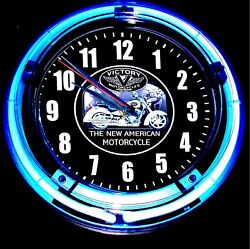 VICTORY MOTORCYCLES LOGO - 11 Blue Neon Wall Clock