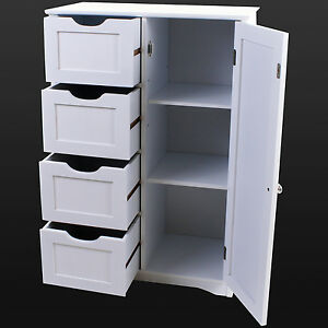 4 Drawer Bathroom Cabinet Storage Unit Wooden Chest Cupboard White Door Draw NEW