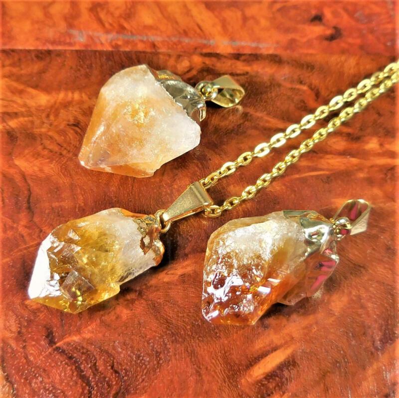 Bulk Wholesale Lot 5 Pieces Citrine Point Pendant Gold Cap - Necklace