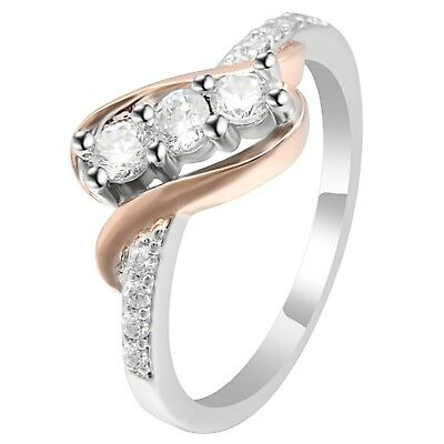Bianca Sterling Silver 3 stone Two Tone Bridal Engagement Wedding Ring Set
