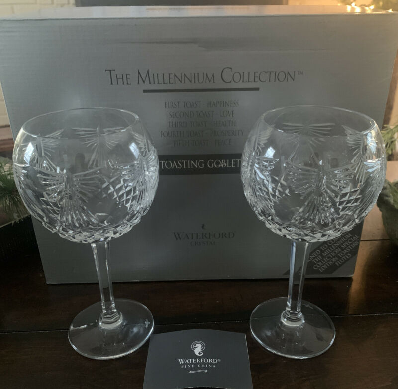 Set of 2 Waterford Millennium Peace Toasting Goblets In Original Box