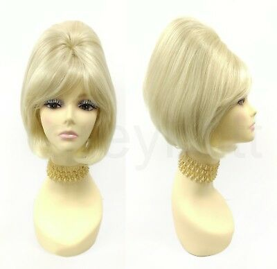 Short Beehive Wig Blonde Straight Sixties 60s Retro Vintage Costume 11