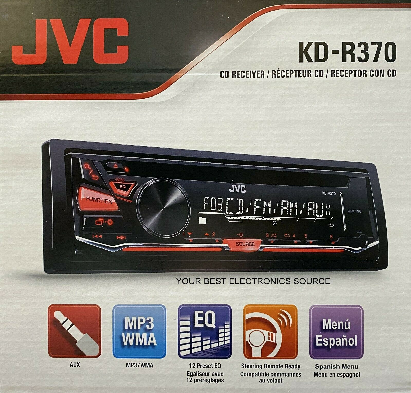 NEW JVC KD-R370 AM/FM/CD Single DIN Car Stereo Receiver w/ A