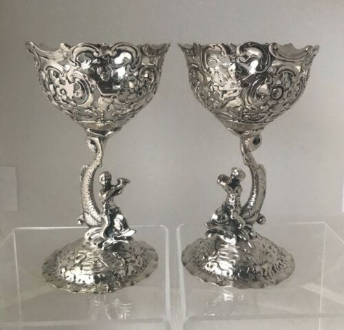 Neresheimer & Sohne 800 German Silver Compotes, Cherubs and Dolphins