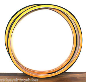 PAIR 27 x 1 1/14 inch Gumwall Bicycle Tires Gum Wall Tyres Mens Ladies Road Bike