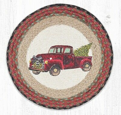 Red Round Placemats (RED CHRISTMAS TRUCK 100% Natural Braided Jute Placemat, 15
