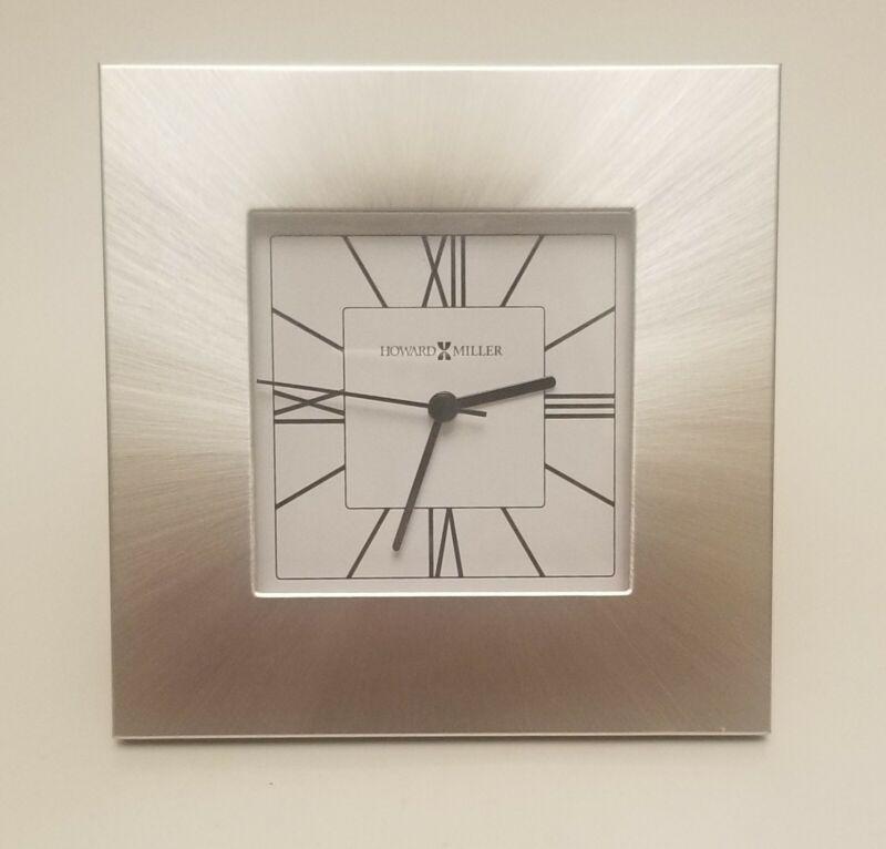 Howard Miller Kendal Table Clock Silver Square Desk Quartz Movement Roman Num.