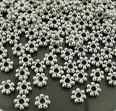 Tibetan Silver Daisy Flower Spacer Metal Beads 4mm (600 pcs) (fnsp0585x3)