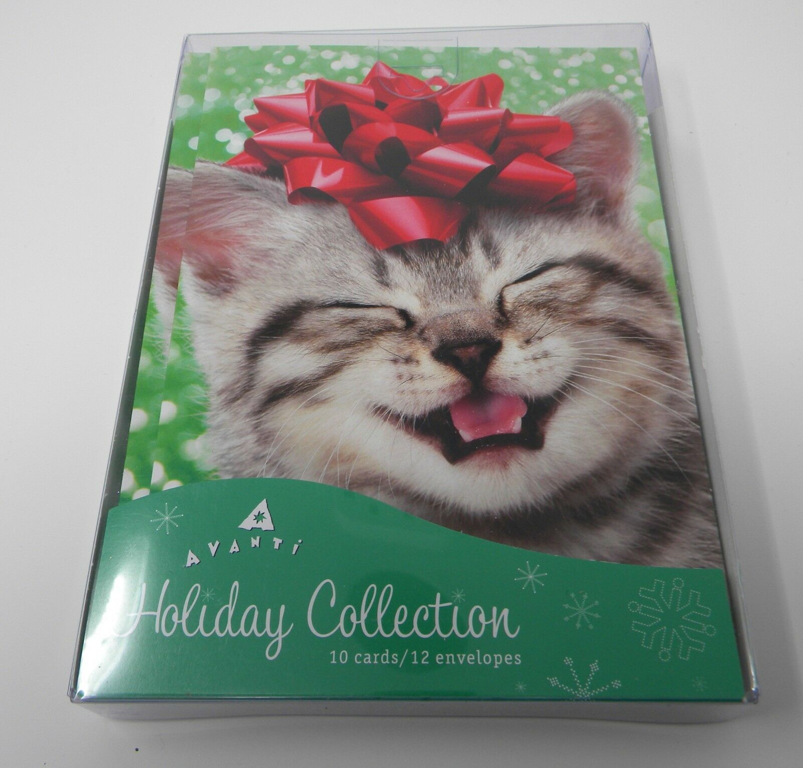 Box of 10 Avanti Kitten Cat with Bow Christmas Cards