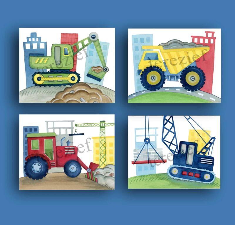 Construction Trucks wall art decor for boy nursery or bedroom