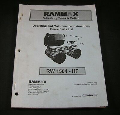 Rammax Rw1504hf Vibratory Trench Roller Parts Maintenance Operating Manual Book