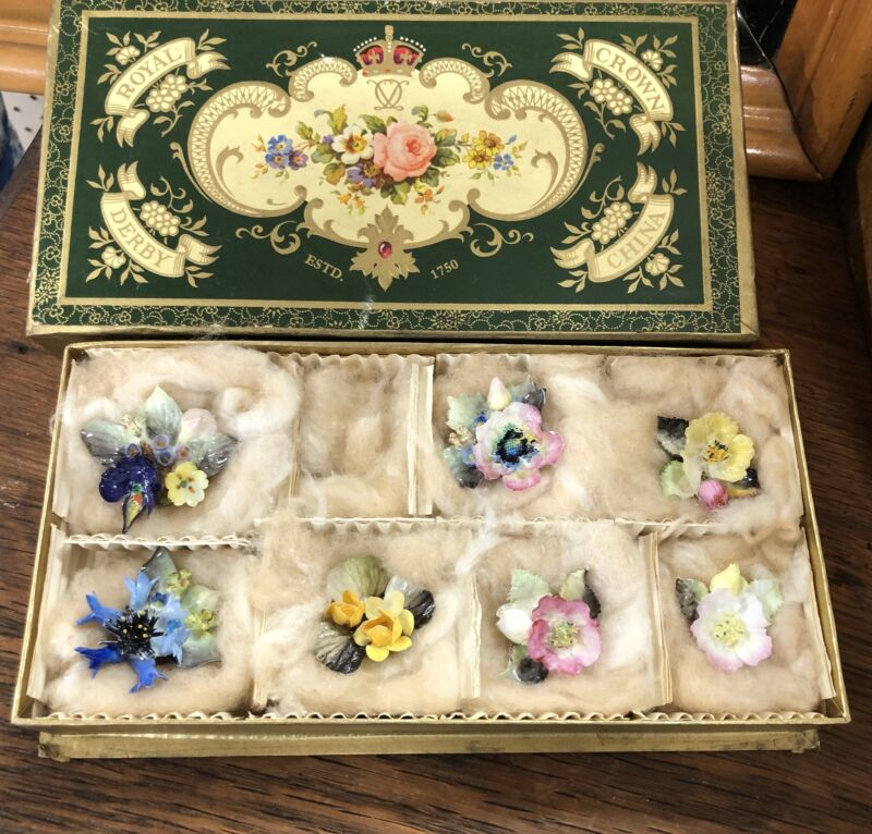 Royal Crown Derby China Boxed Set 7 Porcelain Flowers