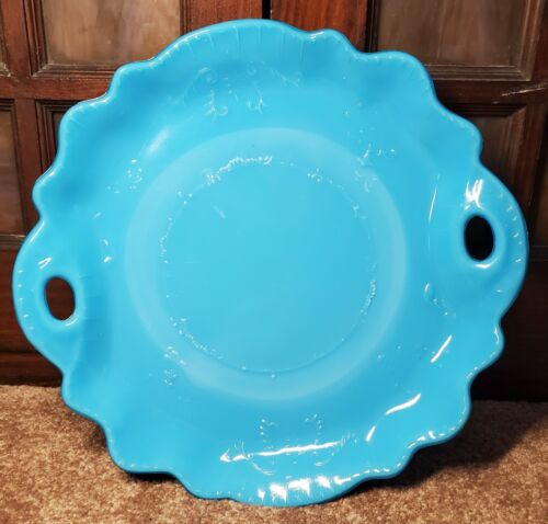 Dithridge Blue Opaline Milk Glass Handled Cake Serving Plate Tray early 1900s