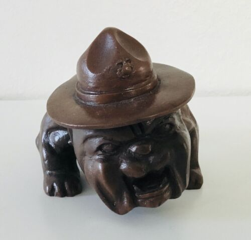 "USMC Bulldog Figurine/Paperweight Molded Resin Vintage 6"" L x 3.5"" H"