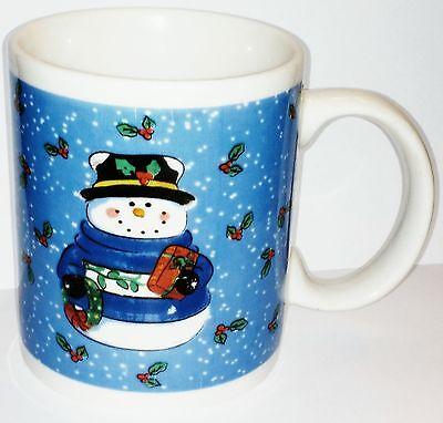 Set Of 4 Lindsay Jordan LJ Designs Snowman Holiday Home Ceramic Mugs Blue