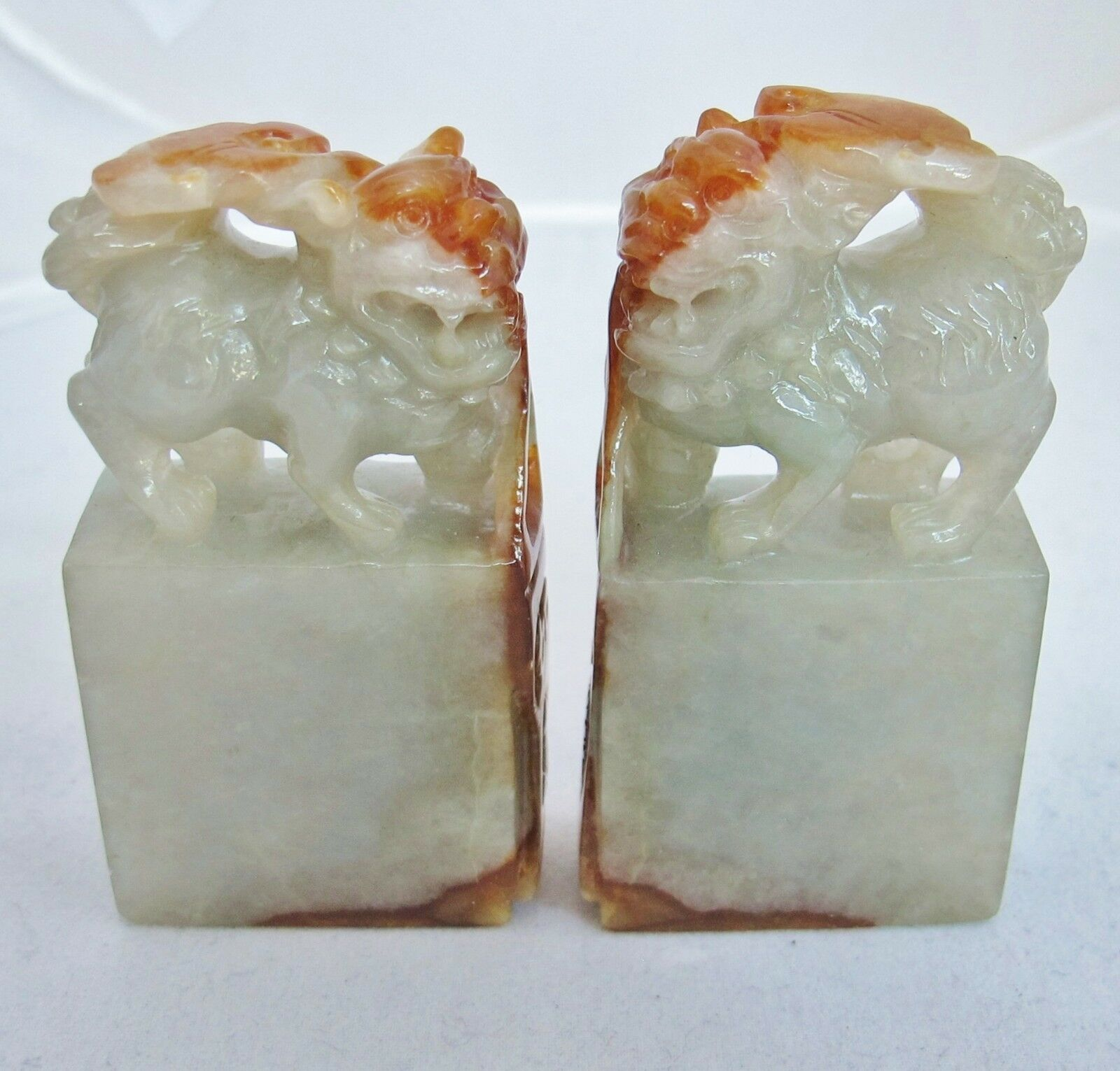 "2.5"" Pair Chinese Carved Green & Orange JADEITE Jade Foo Dog Chop Seal Pendants"