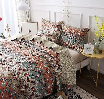 DaDa Bedding Vibrant Bohemian Garden Paisley Floral Quilt Coverlet Bedspread Set - Floral Polyester Quilt