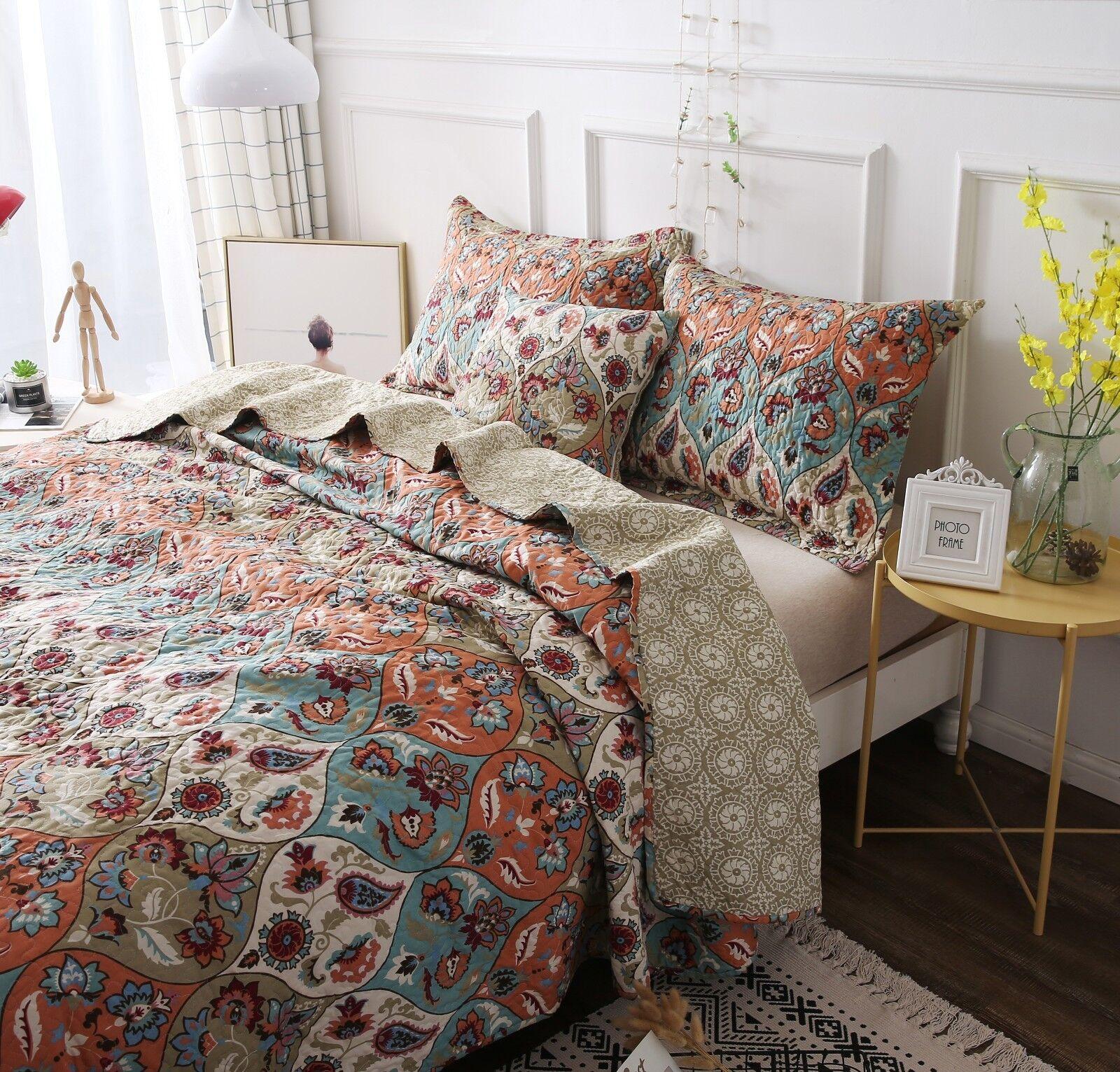DaDa Bedding Vibrant Bohemian Garden Paisley Floral Quilt Co