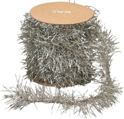 NEW CHRISTMAS Silver Tinsel Garland 12 Feet Vintage Look For Feather Trees Craft