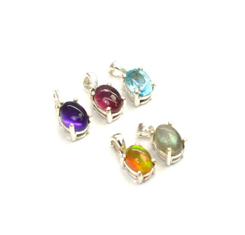 WHOLESALE 5PC 925 SOLID STERLING SILVER PURPLE AMETHYST MIX PENDANT LOT f239