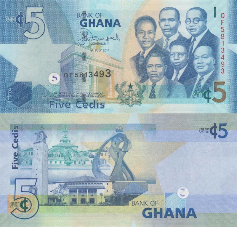 Ghana 5 Cedis (01.7.2014) - Big Six/Monuments/p38e UNC