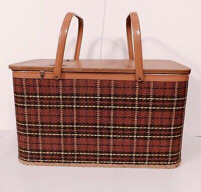 Vintage Redmon Picnic Basket Red Plaid Wood Lid Metal Handle Made USA MCM