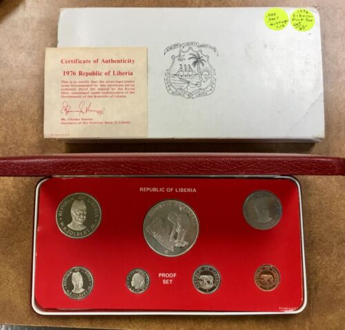 1976 LIBERIA proof set low mintage of 2,131  nice Elephants Silver $5
