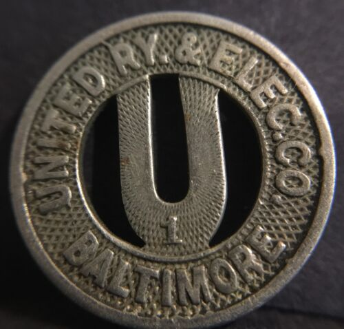UNITED RY (Railway) & ELEC. (Electric) CO. BALTIMORE MD Good For One Fare Token