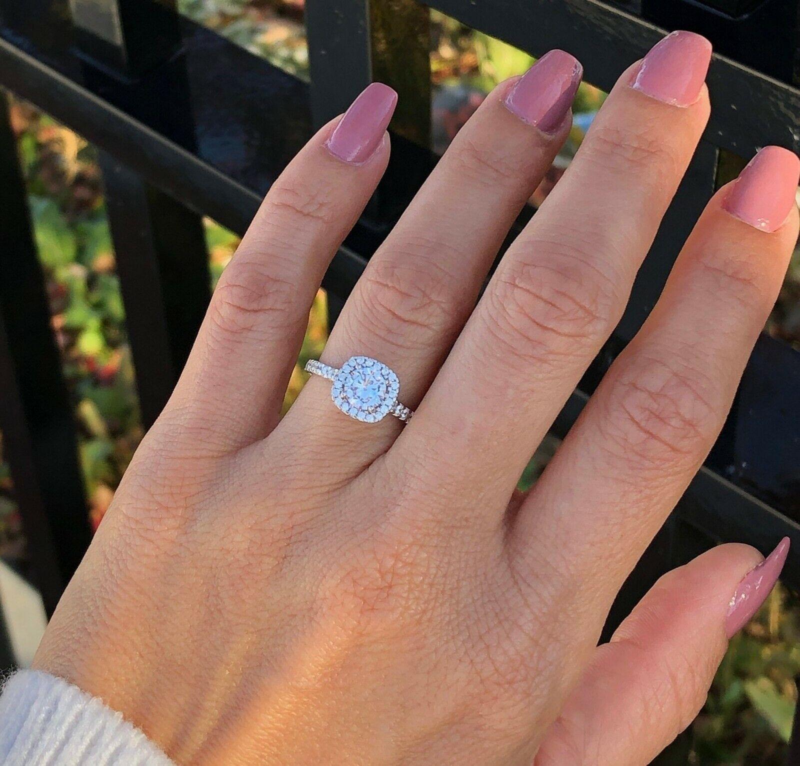 2Ct Round Cut Diamond Delicate Halo Engagement Women Ring 14K White Gold Finish
