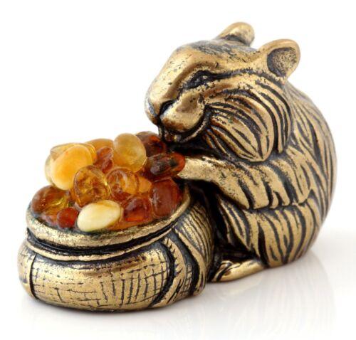 Hamster Brass Bronze Figurine Russian Baltic Amber Miniature Animal Sculpture