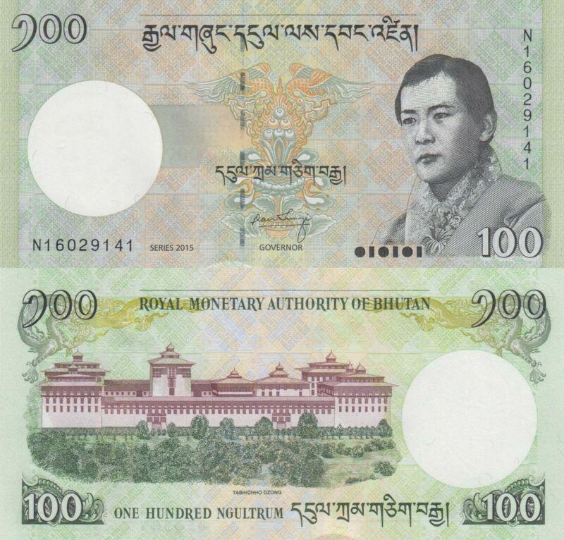 Bhutan 100 Ngultrum (2015) - Paru Rirpung Dzong/p32d UNC