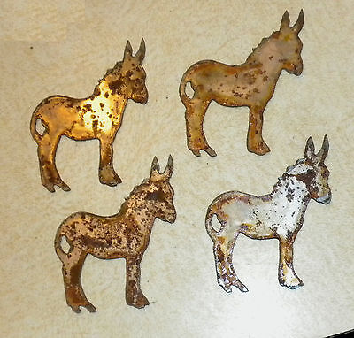 Lot Of 4 Donkey Mule Shapes 3 Rusty Metal Vintage Ornament Craft Sign Made Usa
