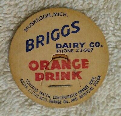 Vintage Briggs Dairy Orange Drink Milk Bottle Cap Muskegon MI Pog