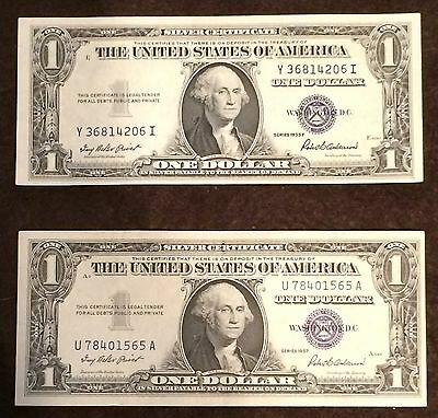1935 Ship (1935 + 1957 (2 NOTE LOT) Silver Certificate AU+ CU condition FREE)
