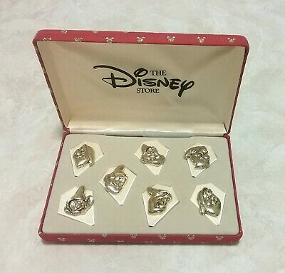 Disney Store Seven Dwarfs 7 Gold Tone Pin Set In Red Mickey Mouse Box