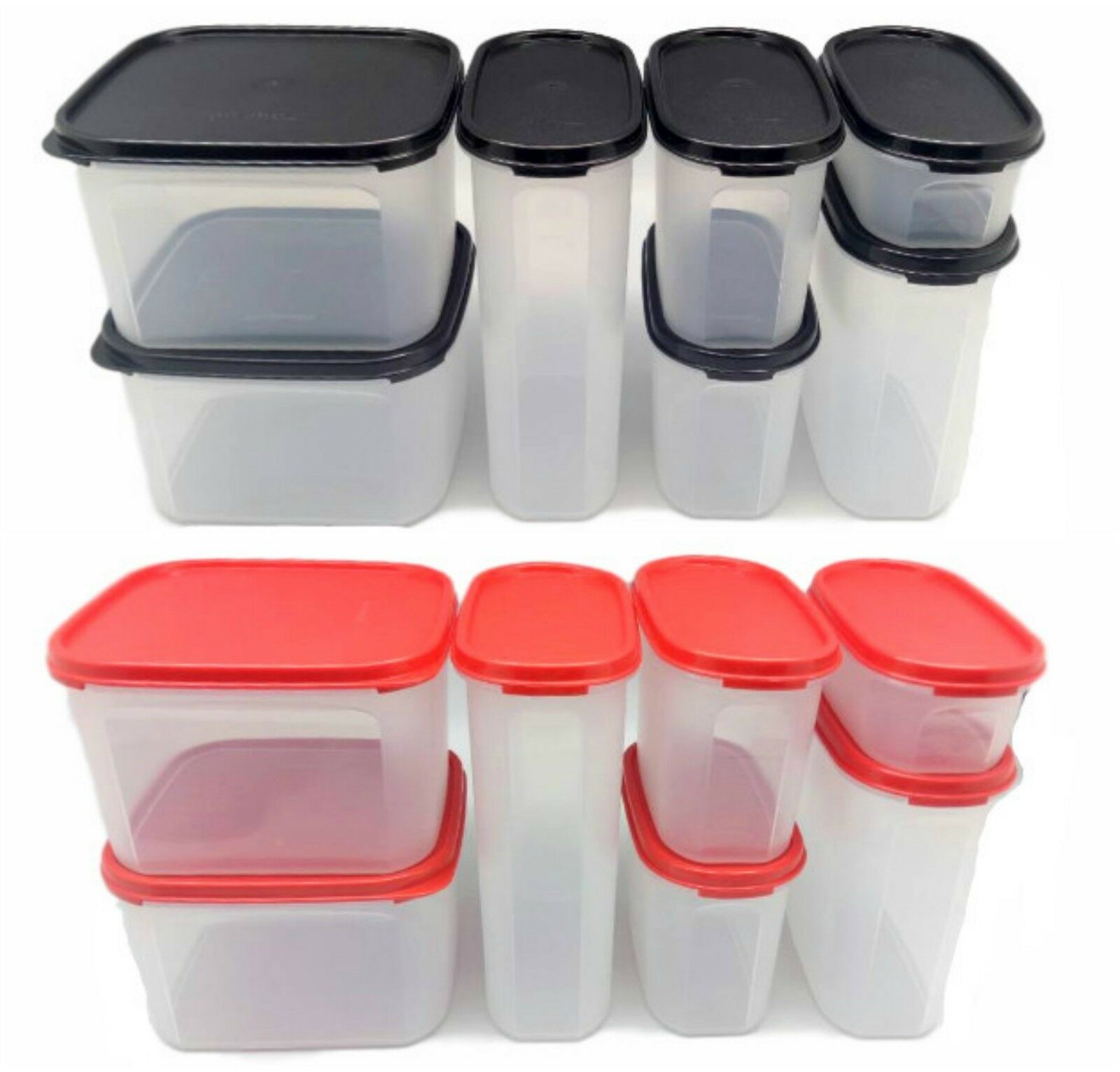 Tupperware Modular Mates Oval Square Combo: Free Shipping Black//Red Set of 4