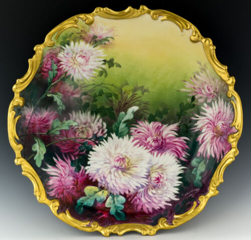 """Antique Limoges 13,25"""" Hand Painted Chrysanthemums Signed Charger Plaque Plate"""