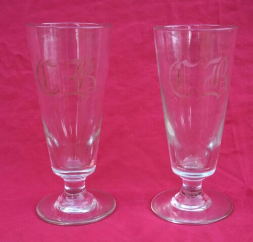 Antique French Engraved Glass Pair Mazagran Coffee Tea Footed Cup Mono CB 1870