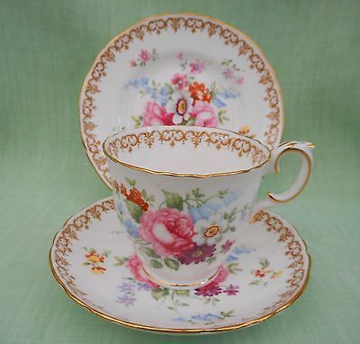 Crown Staffordshire England's Bouquet bone china cup saucer & plate trio
