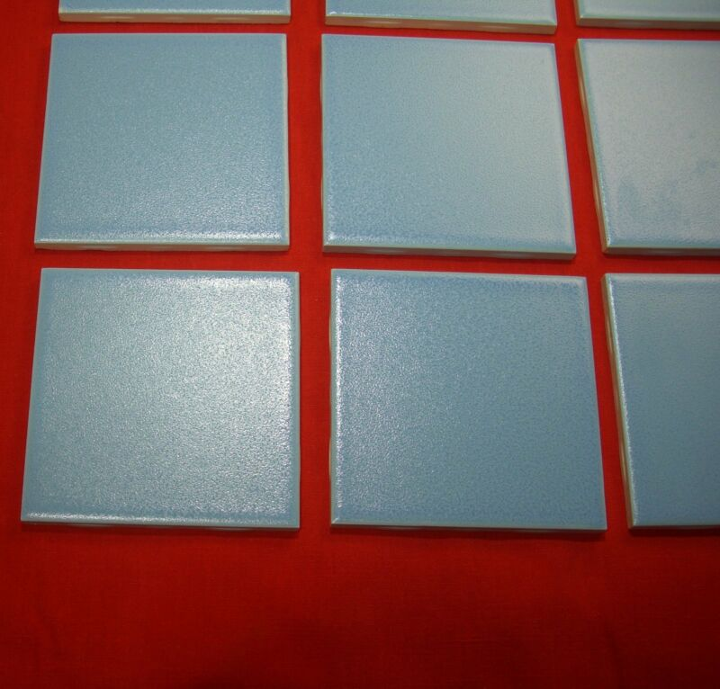 Vintage 4-3/8 inch; speckled baby blue  ceramic tile by Mosaic
